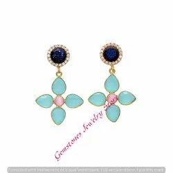 Aqua Pink Chalcedony Blue Durzy & White Cz Gemstone Earring
