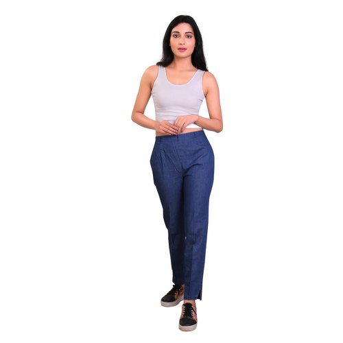 Plain Girls Denim Trouser, Size: Medium