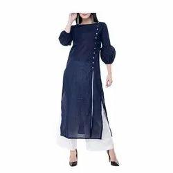 Casual Wear Blue Ladies Georgette Crepe Kurti