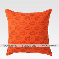 Casual type Square Orange Elephant Cotton Block Print Cushion Cover