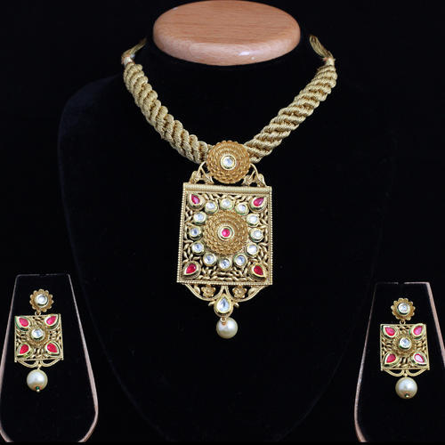 Fusion AD Kundan Mala Necklace Set