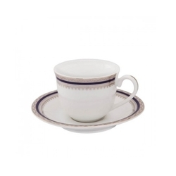 Blue Indigo Fine Porcelain Alda S1 130 Ml Platinum Cup And Saucer Set