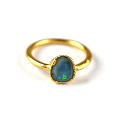 Fire Opal Faceted Small Gemstone Gold Plated Ring