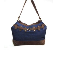 Hand Handled Blue and Brown 005PSBG (5) Ladies Cotton Sling Bag, Size: 16 X 15.5 X 4 Inch