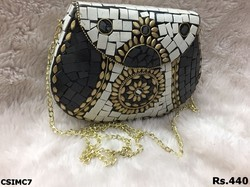 White & Black Mosaic Clutch