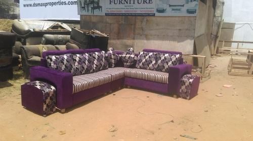 Wooden Purple Color Corner Sofa Set 3