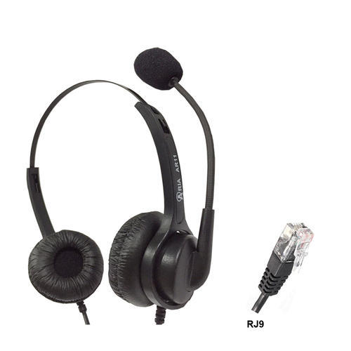 Black ARIA RJ9 Headset, Model Number: Ar18n, Weight: 200g
