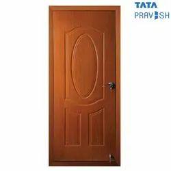 Hinged Tata Pravesh Pearl Embossed Wood Finish Residential Steel Door