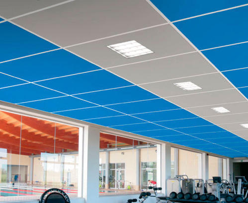 Grey & Blue Grid Ceiling, Thickness: 10-20 mm