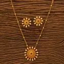 Brass & Copper Antique South Indian Pendant Set With Matte Gold Plating 201068, Size: Length = 16 Inch