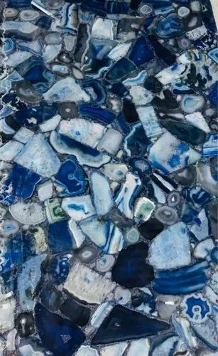 Blue Agate Slab, Thickness: 15-20 Mm