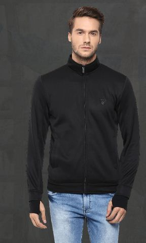bdf4feb13b206 Black Athleisure Jacket with Cuff Detailing - Mufti Exclusive Store ...