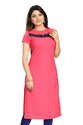 Women Pink Plain Crepe Kurti