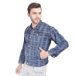 Full Sleeve Casual Wear Skupar Fashionable Stretch Men Denim Jacket With Check