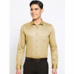 Plain Mens Light Yellow Party Wear Satin Shirt 0, Size: 36-44