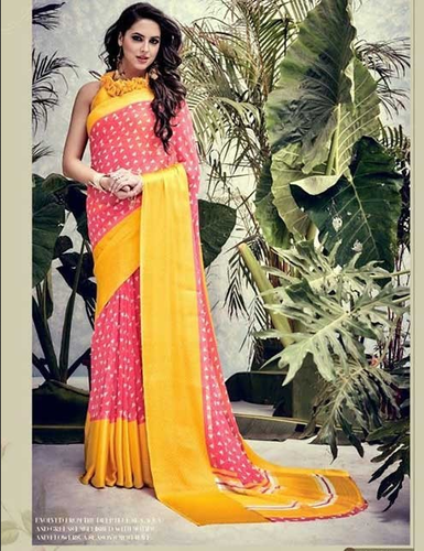 73cafc371 Peach Colored Weightless Satin Patta Printed Saree at Rs 1121  piece ...