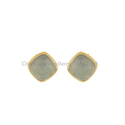 14K Gold Plated Silver Chalcedony Earrings Wholesaler Jewelry
