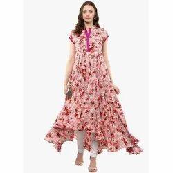 Cotton Crepe Ladies Printed Anarkali Suit, Handwash