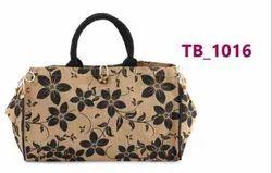 Black, Brown Floral Printed Ladies Jute Hand Bag, Capacity: 5 Kg