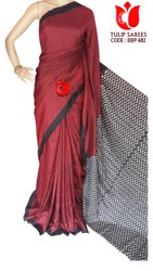 Tulip Sarees Party Wear Bishnupuri Pure Silk Saree Hand Blocked/Dyed, 6.5 mtr (with Blouse Piece)