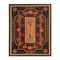 Polyester Red Rectangular Printed Indoor Room Floor Carpet, Size: 6x8