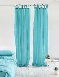 Plain Aqua Stone Washed Linen Curtain Panel with Ties