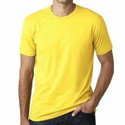 Cotton Half Sleeve Yellow Promotional Round Neck T Shirt, Size: X To XXL