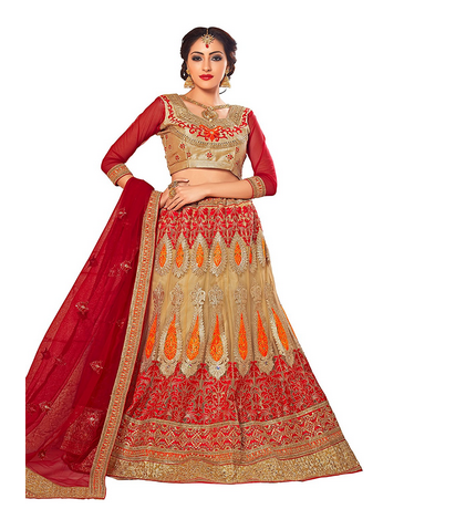 60d33b60c3 Aasvaa Stylish Beige And Red Embroider Lehenga Choli at Rs 5695.00 ...