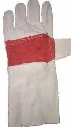 White Leather Red Palm Welding Gloves 14', Size: Free