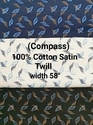 Cotton Satin Twill Shirting Fabric (Compass)