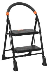 Parasnath Black 2 Steps Folding Ladder with Wide Steps