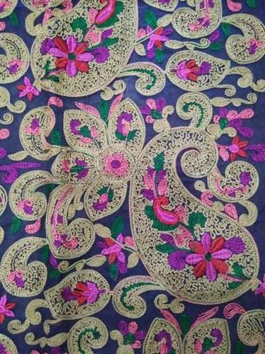 Cotton Multi Color Chain Stitch Paisley Embroidery Design Fabric Rs