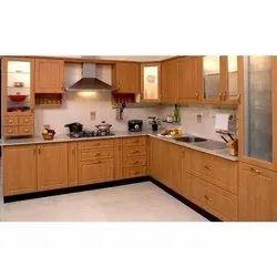 Wooden L Shape Italian Modular Kitchen, Warranty: 5 Years
