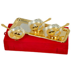 Handicraft Brass Bowl Set with Tray