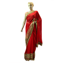 Party Wear Red Georgette Saree