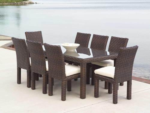 Brown Wicker Dining Table