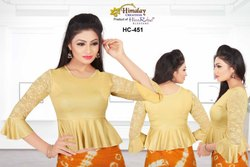 Casual Fashionable Golden Shimmer Stretchable Blouse