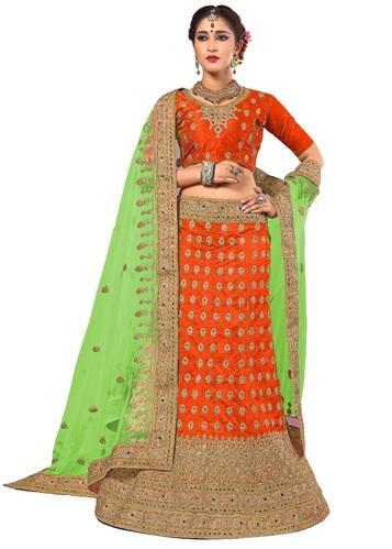1be87df196 Ujjwal Creation Bridal Wedding Wear Orange & Parrot Green Art Silk Lehenga  Choli and Dupatta