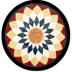 White Marble Flower Painted Round Table Top