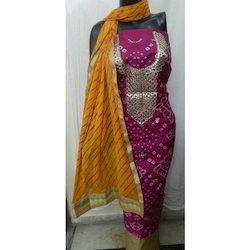 Pink, Yellow Casual Wear Bandhej Art Silk Suit