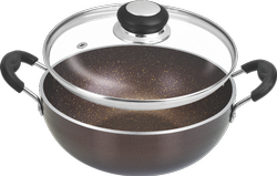 Copper Deep Kadai With Glass LID, For Home