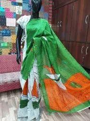 Dabu Indigo Printed Chanderi Silk Saree