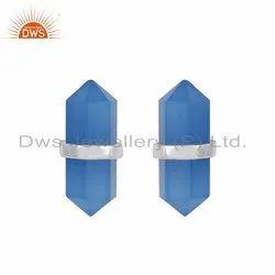 Blue Chalcedony Gemstone Fine Silver Women Earrings