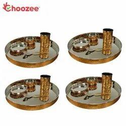 Choozee Copper Thali Set of 4 (20 Pcs) of Thali, Bowl, Spoon & Glass