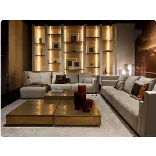 Leather Designer Sofa Set, Seating Capacity: 7 Seater, Back Style: Cushion back