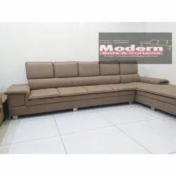 Modern Wood L Shape Sofa Set