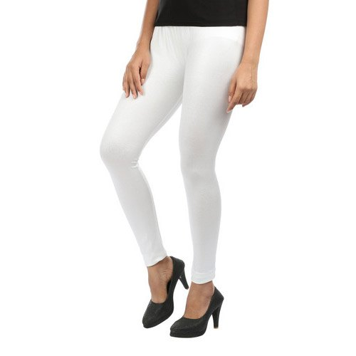 White Stretchable Leggings, Casual Wear, Straight Fit