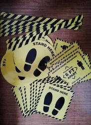 Yellow Plastic Social Distancing Stickers
