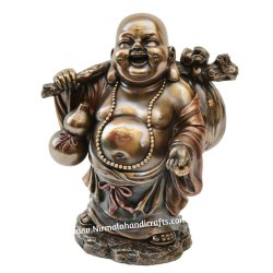 Copper Finish Laughing Buddha Statue Feng Shui Gifted Figurine