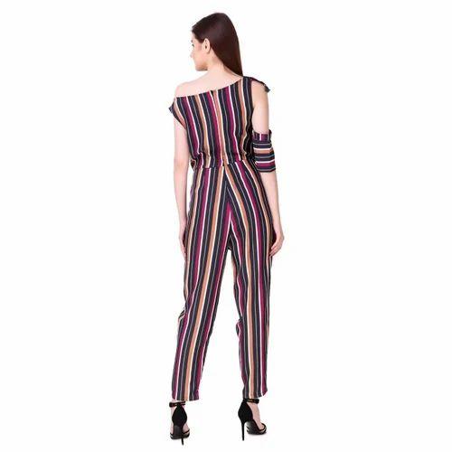 f7cfdd3a45a3 Women Viscose Moss Stripe Ruffle Jumpsuit Dress